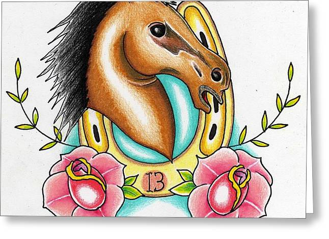 Tattoo Flash Paintings Greeting Cards - Lucky Horse Greeting Card by Kev G