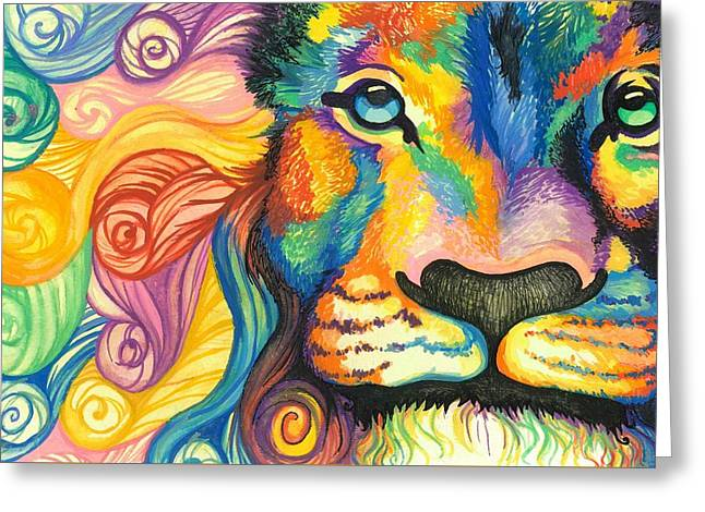 Lioness Paintings Greeting Cards - Lucky Lion Spirit Greeting Card by Sarah Jane