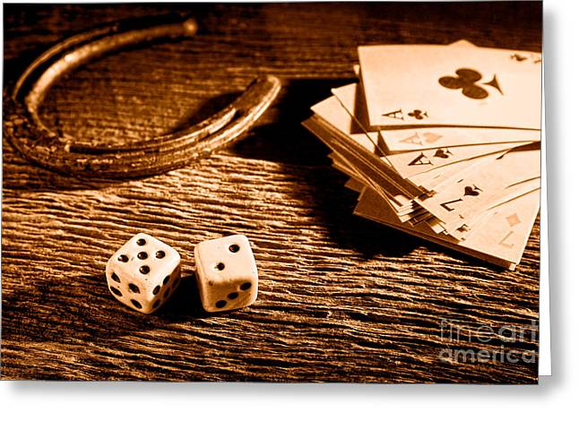 Wager Greeting Cards - Lucky - Sepia Greeting Card by Olivier Le Queinec