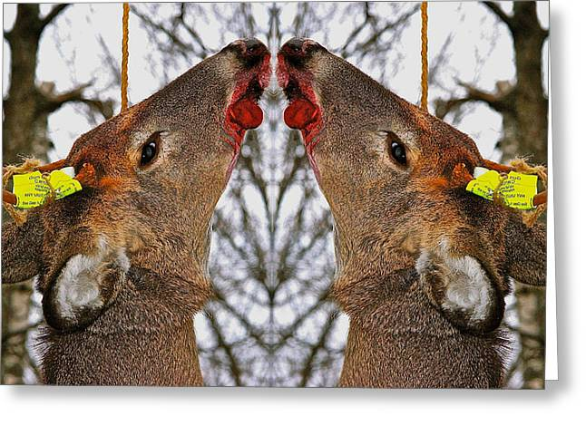 Lucky Shot Kills Two Deer Greeting Card by Robert Frank Gabriel