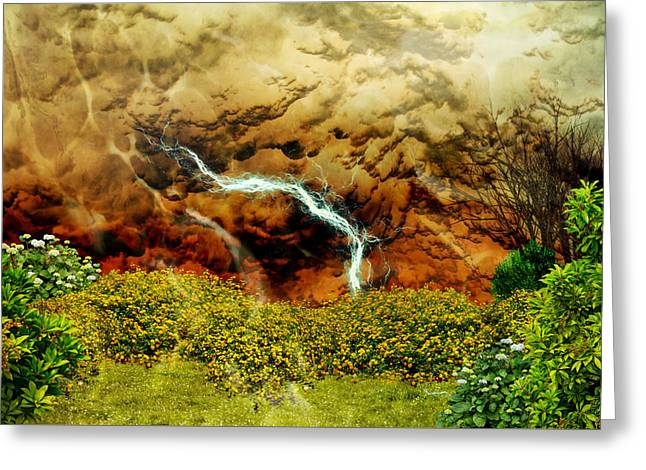 Thunderstorm Mixed Media Greeting Cards - Lucky Strike Greeting Card by Ally  White