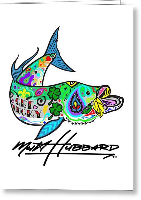 Lucky Tarpon Greeting Card by Mutt Hubbard