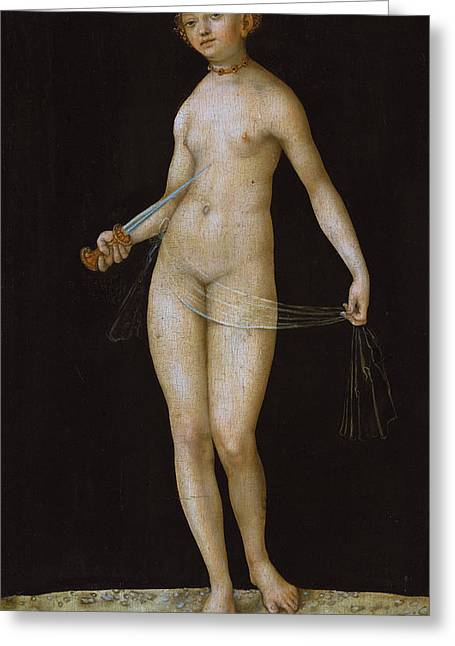 Commit Greeting Cards - Lucretia Greeting Card by Lucas the elder Cranach