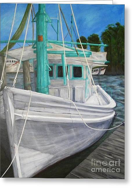 Docked Boats Greeting Cards - Lucy F Greeting Card by JoAnn Wheeler