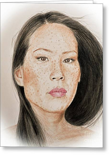 Movie Art Greeting Cards - Lucy Liu Freckled Beauty Greeting Card by Jim Fitzpatrick