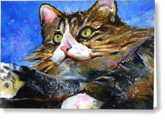 Lucy The Cat Greeting Card by John D Benson