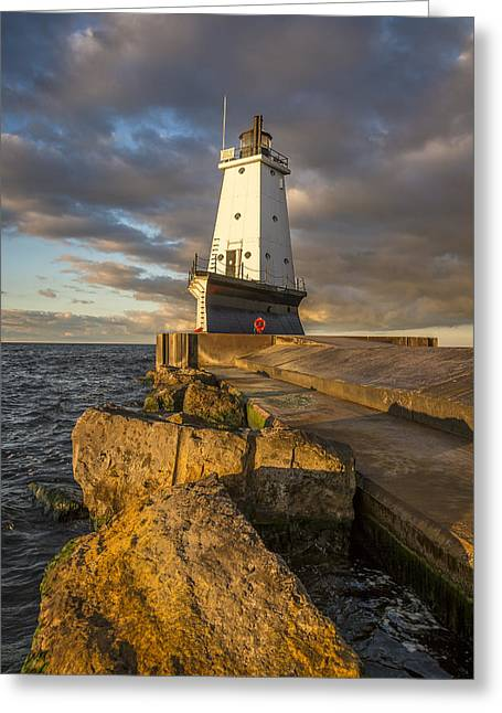 Ludington North Breakwater Lighthouse At Sunrise Greeting Card by Adam Romanowicz