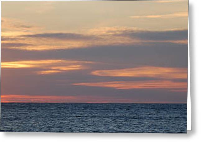 Ludington State Park Greeting Cards - Ludington Sunset Panorama Greeting Card by Twenty Two North Photography