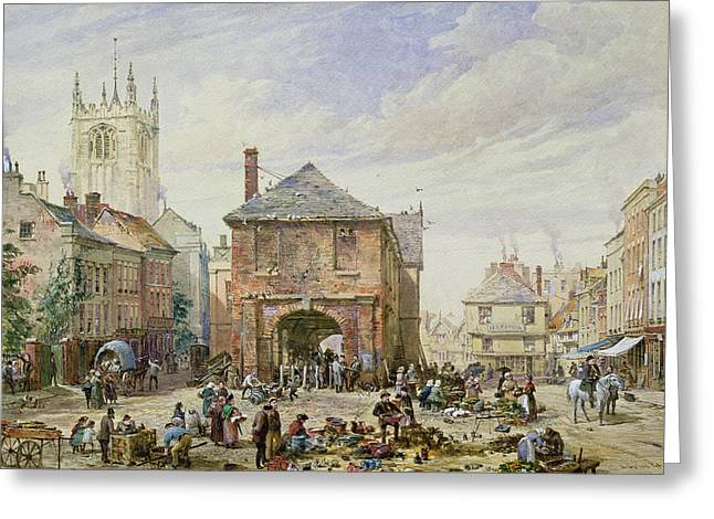 Market Square Greeting Cards - Ludlow Greeting Card by Louise J Rayner