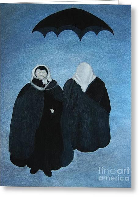 Umbrella Pastels Greeting Cards - Ludmilla and Rosemasha Greeting Card by Rosemarie Glennon Kliegman