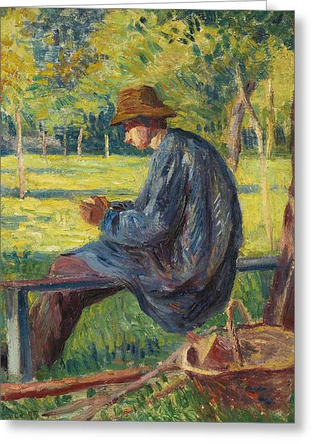 Ludovic Rodo Pissarro In The Garden Of His Father In Eragny Greeting Card by Maximilien Luce