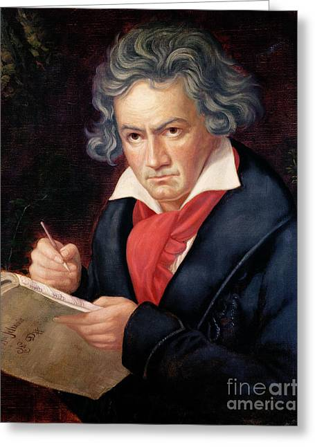 Thinking Greeting Cards - Ludwig van Beethoven Composing his Missa Solemnis Greeting Card by Joseph Carl Stieler