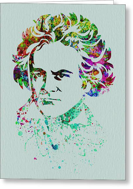 Classical Greeting Cards - Ludwig van Beethoven Greeting Card by Naxart Studio