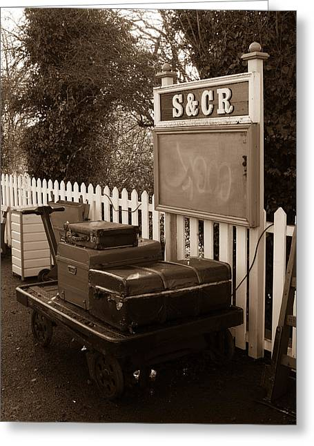 Luggage At Blunsdon Station Greeting Card by Steven Sexton