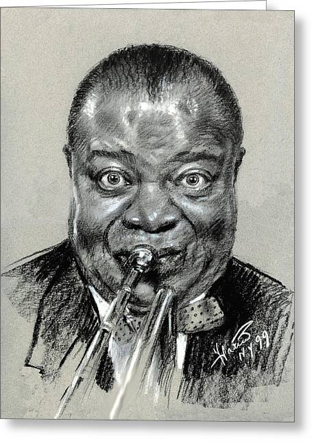 Portrait Pastels Greeting Cards - Lui  Armstrong Greeting Card by Ylli Haruni