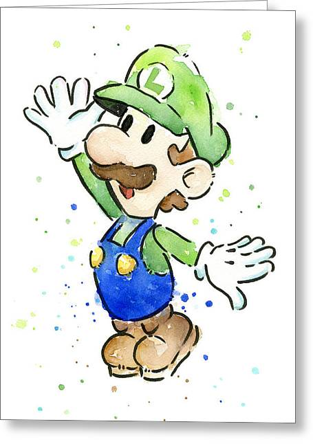Luigi Watercolor Greeting Card by Olga Shvartsur