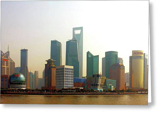 Moody Greeting Cards - Lujiazui - Pudong Shanghai Greeting Card by Christine Till