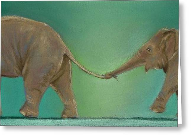 Elephant Pastels Greeting Cards - Luk Chai and Mr Shuffles Greeting Card by Louise Green