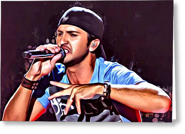 Apple Records Greeting Cards - Luke Bryan Portrait Greeting Card by Scott Wallace