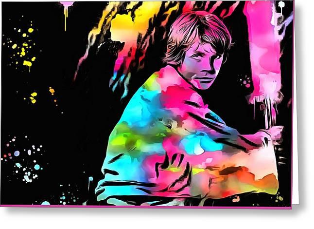Star Greeting Cards - Luke Skywalker Paint Splatter Greeting Card by Dan Sproul