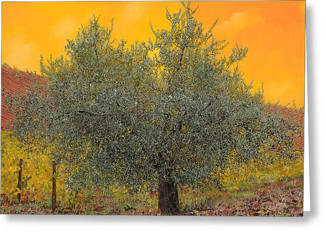 Leaves Paintings Greeting Cards - Lulivo Tra Le Vigne Greeting Card by Guido Borelli
