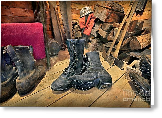 These Boots Are Made For Logging Greeting Card by Martin Konopacki