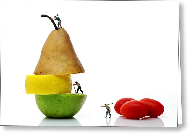 Pear Art Digital Art Greeting Cards - Lumberjacks working on fruits Greeting Card by Paul Ge