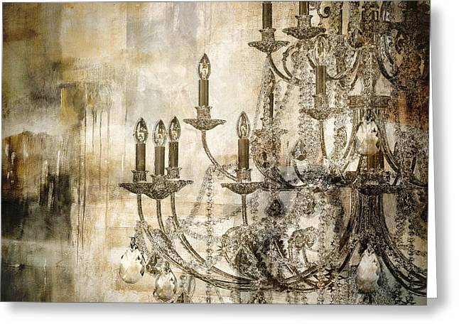 Chandelier Greeting Cards - Lumieres Greeting Card by Mindy Sommers