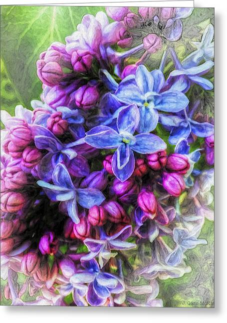 Flower Design Greeting Cards - Luminescent Lilacs Greeting Card by Jo-Anne Gazo-McKim