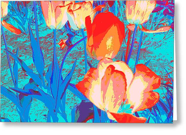 Abstract Digital Digital Art Greeting Cards - Luminous Tulips Greeting Card by Leah Dockrill