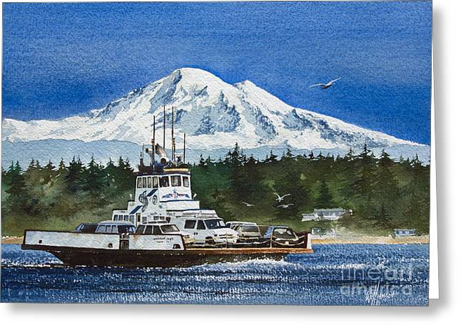 Baker Island Greeting Cards - Lummi Island Ferry and Mt Baker Greeting Card by James Williamson