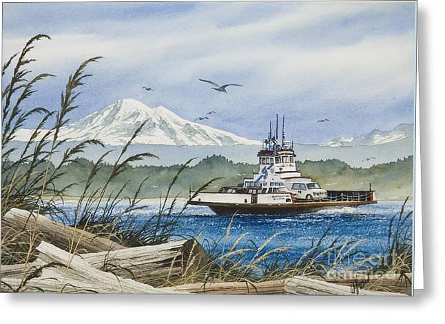 Baker Island Greeting Cards - Lummi Island Ferry Greeting Card by James Williamson