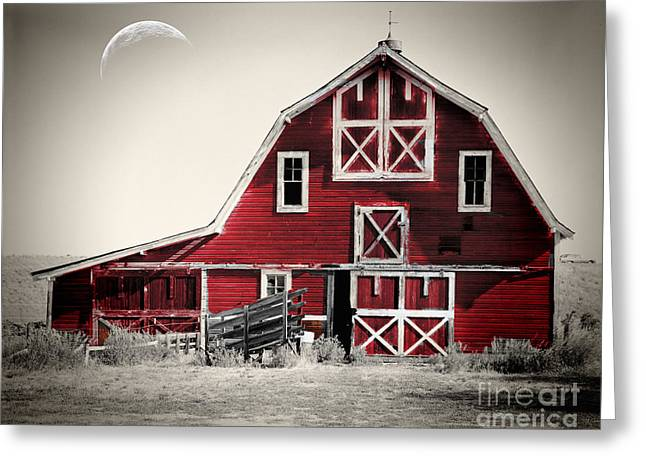 Luna Barn Greeting Card by Mindy Sommers