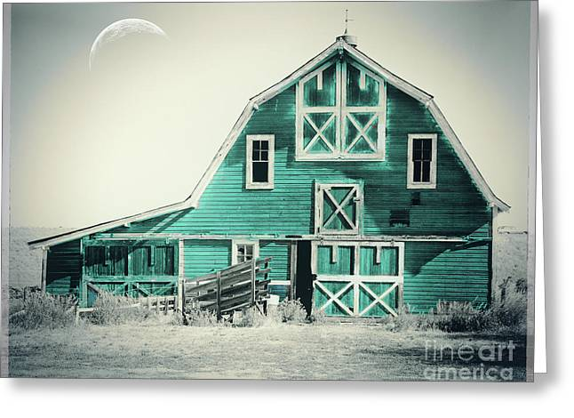 Luna Barn Teal Greeting Card by Mindy Sommers