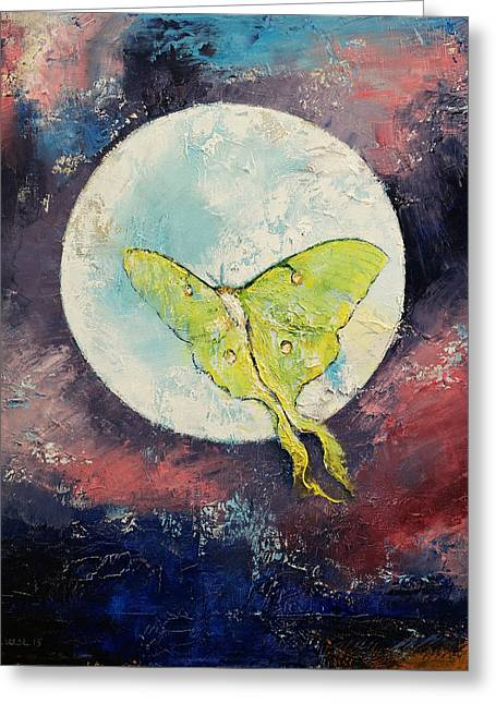 Moth Greeting Cards - Luna Moth Greeting Card by Michael Creese