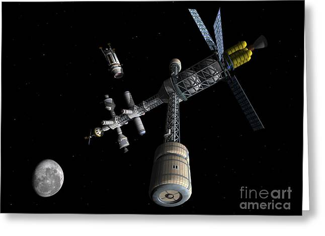Space Probes Greeting Cards - Lunar Cycler Centrifuge Greeting Card by Walter Myers