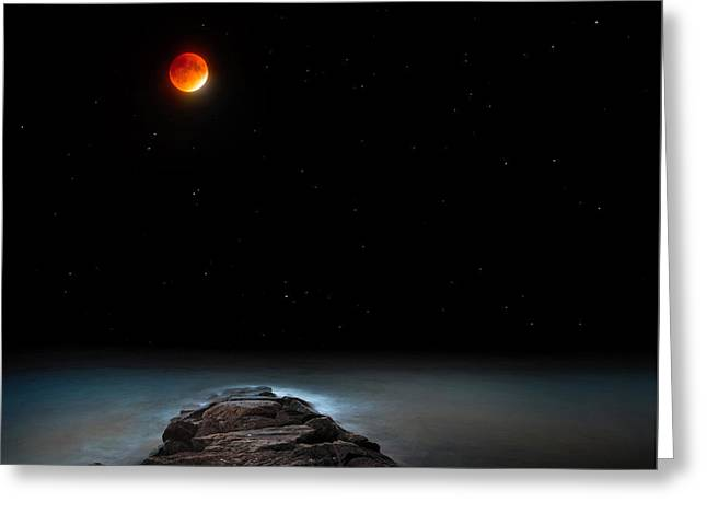 Outer Space Greeting Cards - Lunar Eclipse Greeting Card by Bill Wakeley