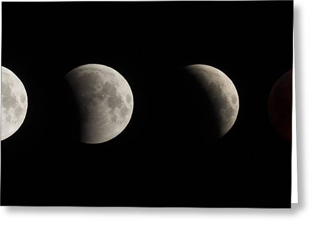 Eclipse Greeting Cards - Lunar Eclipse Composite Greeting Card by Noah Bryant