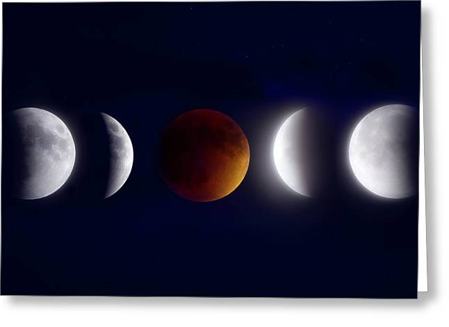 Beauty Mark Greeting Cards - Lunar Eclipse Montage Greeting Card by Mark Andrew Thomas