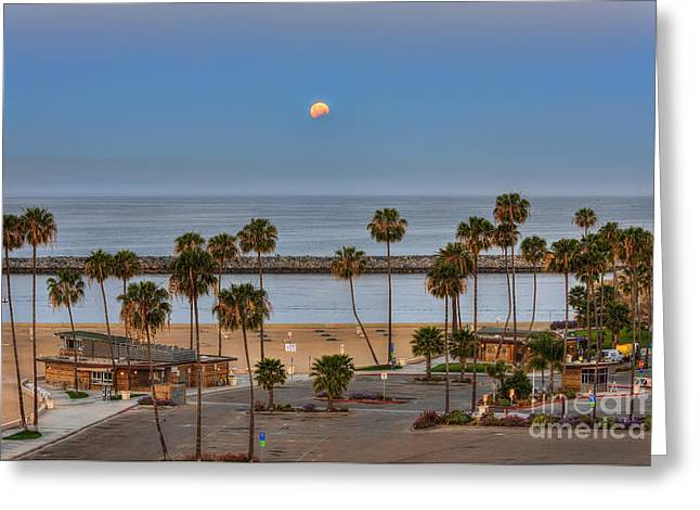 Moon Set Greeting Cards - Lunar Eclipse Moonset Greeting Card by Eddie Yerkish