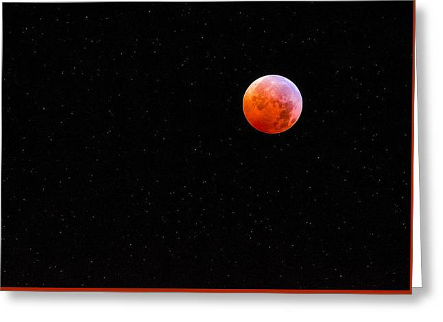 Oranger Greeting Cards - Lunar Eclipse Greeting Card by Steven Maxx