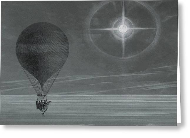Lunar Halo And Luminescent Cross Observed During The Balloon Zenith's Long Distance Flight Greeting Card by French School