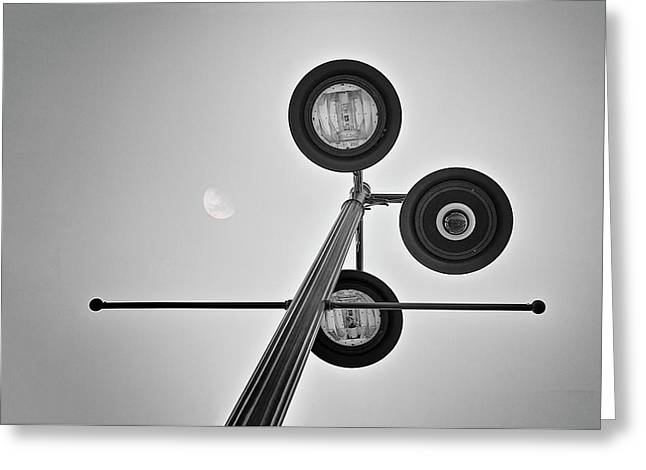 Lunar Lamp In Black And White Greeting Card by Tom Mc Nemar