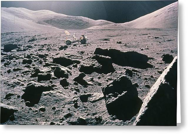 Lunar Rover At Rim Of Camelot Crater Greeting Card by NASA / Science Source