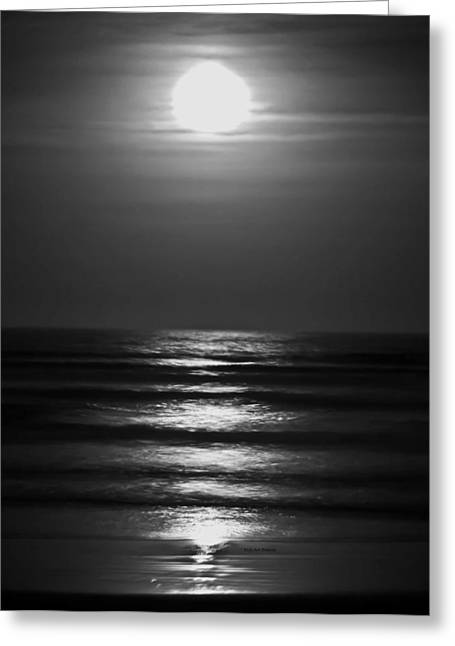 Moon Beach Greeting Cards - Lunar Tides Greeting Card by DigiArt Diaries by Vicky B Fuller