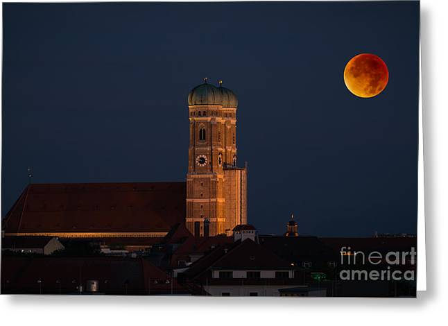 Frauenkirche Greeting Cards - Lunare eclipse above Munich Greeting Card by Hannes Cmarits