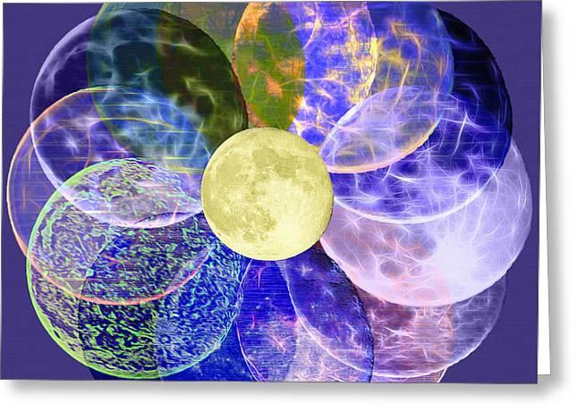 Fractal Orbs Mixed Media Greeting Cards - LunarPlex - Blue Harvest Moon Multiplied Greeting Card by Steve Ohlsen