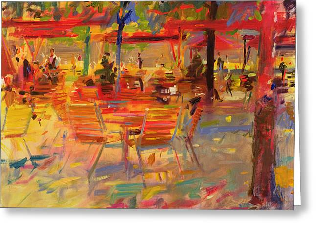 Warm Tones Greeting Cards - Lunch on the Terrace Greeting Card by Peter Graham