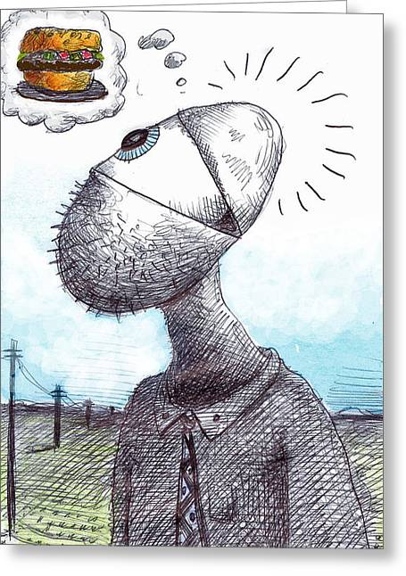 Lunch Time Greeting Card by Jonathan Plotkin