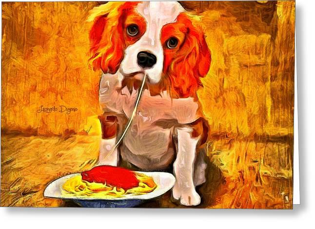 Lunch Time Greeting Card by Leonardo Digenio